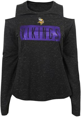 "Juniors' NFL Minnesota Vikings ""Kicker"" Cold Shoulder Long Sleeve Top"