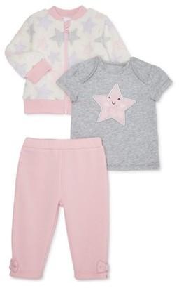 Wonder Nation Baby Girl Jacket, Top & Leggings, 3-Piece Outfit Set