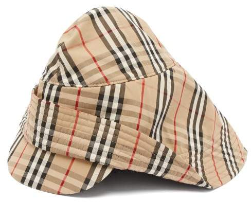 c394850de Vintage Check Cotton Rain Hat - Mens - Beige Multi