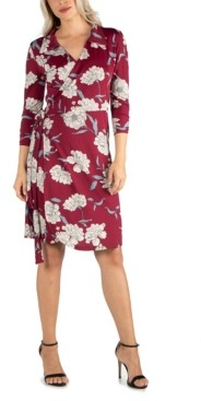 24seven Comfort Apparel Women's Collared Burgundy Wrap Dress