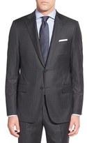 Hickey Freeman Men's Classic Fit Stripe Wool Suit