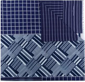 Pierre Louis Mascia Contrasting-Stripe Print Scarf