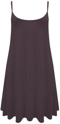 Crazy GirlsWomens Plain Cami Strappy Sleeveless Flippy Flared Mini Swing Dress (S/M