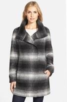 Calvin Klein Women's Plaid Stand Collar Wool Blend Coat