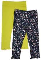 Wallis **Girls 2 Pack Green and Navy Leggings (18 months - 6 years)