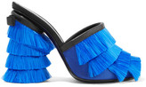 Marco De Vincenzo Leather-trimmed Fringed-satin Mules - Blue