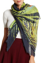 Steve Madden Peacock Feather Print Frayed Hem Scarf