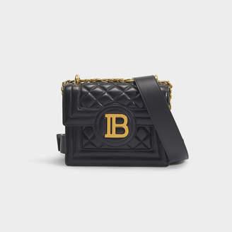 Balmain B-Bag 18 In Black Quilted Lambskin With Metallic Logo