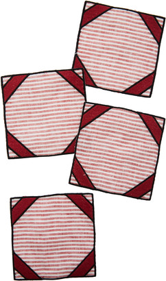 Los Encajeros Set-Of-Four Red Striped Linen Coasters