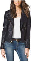Michael Kors Quilted-Panel Leather Jacket