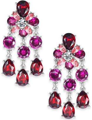 Charter Club Silver-Tone Red & Pink Crystal Chandelier Earrings