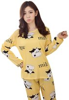 Fedi Apparel Women's Long Sleeve Cute Cartoon Top Pant 2Pc Sleepwear Pajamas Set
