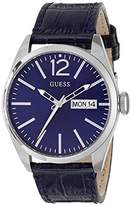 GUESS Men's Quartz Watch with Blue Dial Analogue Display and Blue Leather Bracelet W0658G1