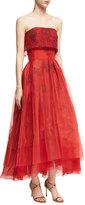 Zac Posen Strapless Floral Popover Midi Gown, Red Medley