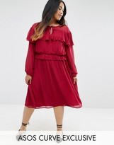 Asos Skater Dress With Ruffle And Tie Sleeve