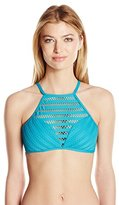 Kenneth Cole New York Women's Tough Luxe Crochet High Neck Cropped Bra Bikini Top