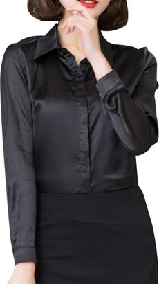 Yasong Women Silk Feel Long Sleeve T Shirt Button Down Satin Blouse Champagne XL