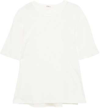 Clu Broderie Anglaise-paneled Two-tone Cotton-jersey T-shirt