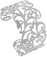 Sabrina Silver Stainless Steel Cuff Bracelet for Women Floral Vine Cut-out pattern 1 1/2 inch wide, size 7.5 inch