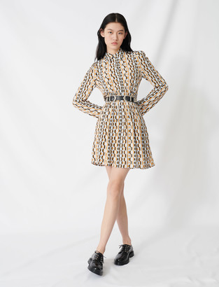 Maje Printed smocked crepe dress
