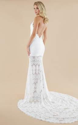 Showpo Fall In Deep Gown in ivory lace - 4 (XXS) Bridal Gowns