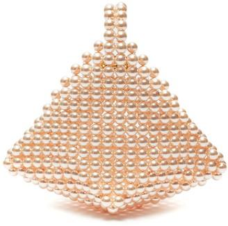VANINA Le Bourgeon diamond shape acrylic bead top handle bag