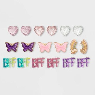Cat & Jack Girls' 9pk Heart & BFFpk Earrings - Cat & JackTM