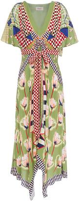 Temperley London Belted Printed Twill Midi Dress