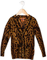 Tory Burch Girls' Leopard Printed Wool Cardigan