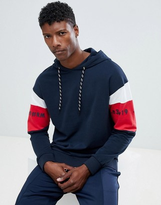 Jack and Jones Core Hoodie With Arm Panel Stripe