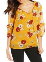 I.N. Studio Floral Print Double Flounce Sleeve Split-Neck Top