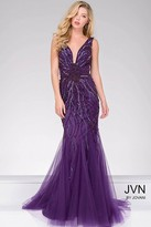 Jovani Tulle Mermaid Open Back Dress JVN22495