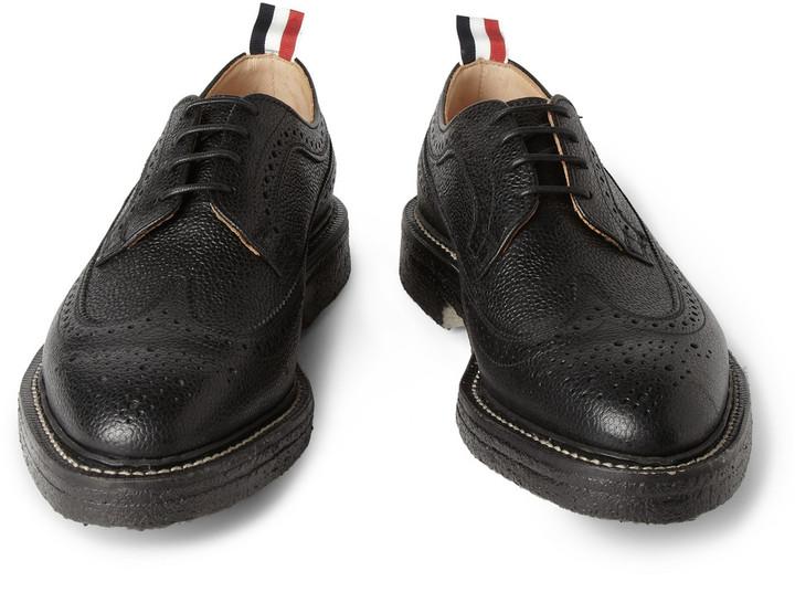 Thom Browne Crepe-Sole Pebbled-Leather Wingtip Brogues