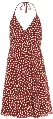 Saint Laurent Dotted silk crepe de chine minidress