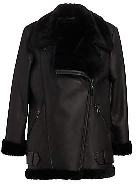 The Fur Salon Women's Shearling Lamb & Nappa Leather Moto Jacket