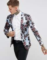 Asos Super Skinny Blazer With Burgundy Floral Print