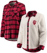 Unbranded Women's Crimson/Cream Indiana Hoosiers Reversible Sherpa Flannel Long Sleeve Button-Up Shirt