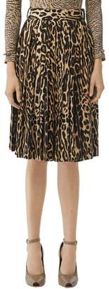 Burberry Pleated Leopard Print Stretch Silk Skirt