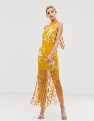 Asos Design DESIGN halter embroidered midi dress with fringe