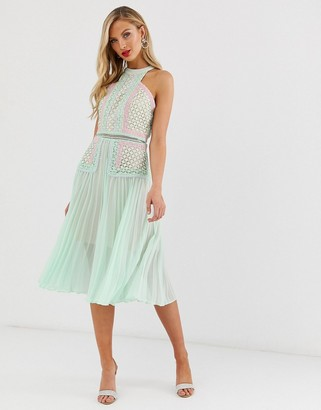 True Decadence premium halter neck midi dress with contrast lacel panels and pleated skirt in tonal mint-Green