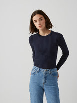 Frank + Oak Cotton-Blend Scoopneck Sweater in Dark Sapphire