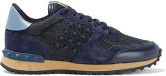 Valentino Garavani Rockstud Leather, Suede And Denim Sneakers