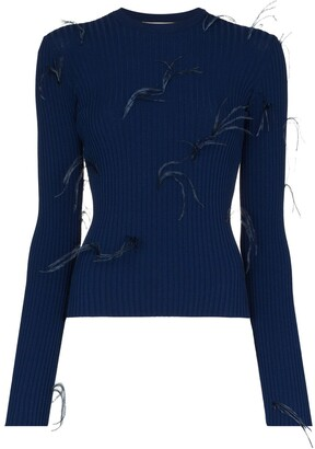 Marques Almeida Feather-Embellished Ribbed-Knit Top