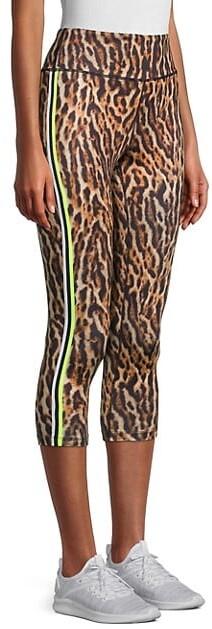 Thumbnail for your product : Pam & Gela Ocelot Animal-Print Three-Quarter Leggings