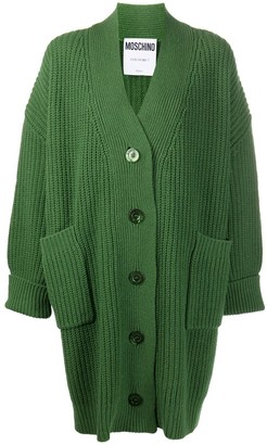 Moschino oversized ribbed V-neck cardigan
