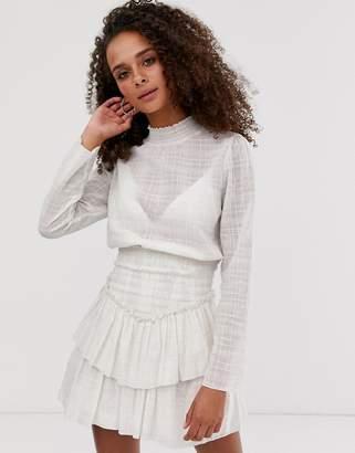 Asos Design DESIGN high neck shirred waist mini dress in texture-Cream