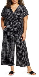Loveappella Wrap Wide Leg Cropped Jumpsuit