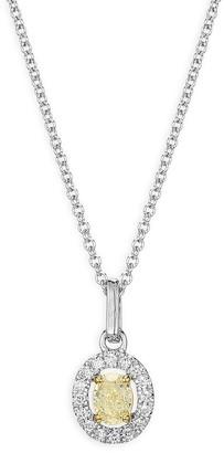 Effy 18K Two-Tone Gold, Yellow Diamond White Diamond Pendant Necklace