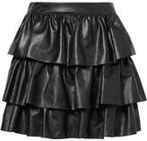 Stella McCartney Anika Tiered Faux Leather Mini Skirt - Black