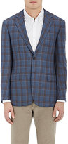 Luciano Barbera MEN'S WINDOWPANE CHECKED CASHMERE-SILK TWO-BUTTON SPORTCOAT